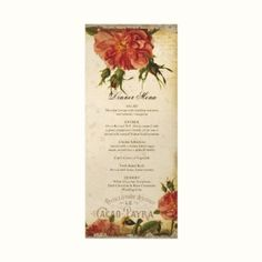 Super elegant, two-sided dinner menu, printed on Champagne Metallic (pearl-like finish) for a touch of French glitz and glamour for your wedding reception dinner.