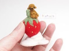 Needle Felted miniature bear with strawberry. by riamelin on Etsy