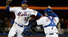 Curtis Granderson, Travis d'Arnaud, NYM/// WS Game 3 v KC, Oct 30, 2015