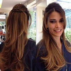 Resultado de imagem para penteados para madrinha cabelo liso longo