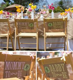 I love the adorable signs for the guests of honor. If you're not having a co-ed shower you could make them for mommy, grandma, aunties, and god mother.