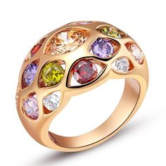 Sterling Silver Rose Gold Finish Stunning Multi Color CZ Band Ring Sz 7.75-8.25