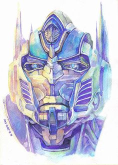 Watercolor Optimus prime. Looks so awesome and well done.