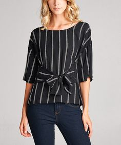 Another great find on #zulily! Black & White Stripe Bow Scoop Neck Top #zulilyfinds