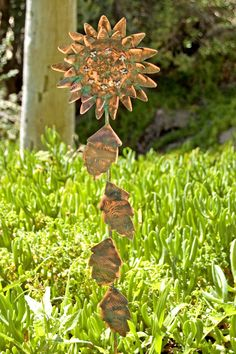 SUNFLOWER Handmade Garden Copper Art Metal Rustic Outdoor Lawn Ornament Yard Sculpture Plant Spike Patina Finish #etsy #gardenstake
