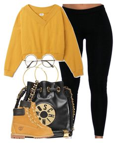 """""""I'm ready for fall cause this heat is wack lol"""" by cheerstostyle ❤ liked on Polyvore featuring Melissa Odabash, Moschino and Timberland"""