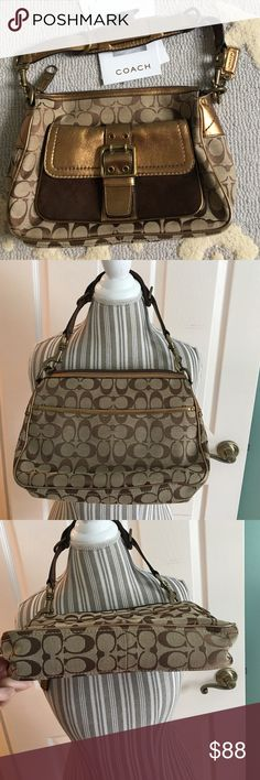 """💯 % Authentic Coach Bag Limited Edition Coach Bag. Light Used and taken excellent care of. I am unable to find dust bag. Nice Bronze and brown suede detailing. 10"""" Length on top / 11"""" on bottom..3"""" Width 8"""" height. Inside of Bag in perfect condition. Coach Bags Shoulder Bags"""