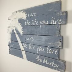 "Beach Decor Palm Tree and  Love the Life 32"" x 21"" #beachsignsandsayings"