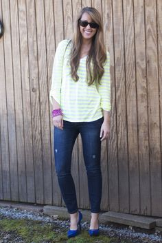 a casual look with pops of color...love these @Gap jeans