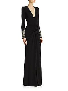 Alexander McQueen Embellished Jersey Gown with Structured Shoulders...AMAZING! $6,395
