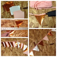 "DIY Paper Garland: (1) Use an exacto knife and t-square to cut 5x5"" pieces of paper in colors of your choice. (2) Using a straight edge, cut the sides of each square diagonally to form a triangle (3) Choose fun ribbon as your garland strand--using a hot glue gun, lay out your color scheme and carefully glue the tops of the cut triangle pieces to the ribbon (4) Repeat step 3 with all triangles, creating a long strand of garland (5) Your DIY Paper Garland strand is ready to hang!"