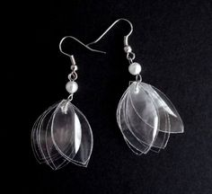 White earrings made of recycled plastic bottle & by dekoprojects