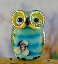 sra by DeniseAnnette on Etsy Polymer Clay Beads, Lampwork Beads, Fused Glass, Glass Beads, Stained Glass, Bead Crafts, Jewelry Crafts, Glass Figurines, Owl Jewelry