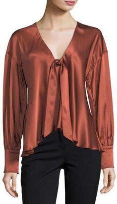 Cinq à Sept Lentz Tie-Front Long-Sleeve Silk Satin Blouse Tie Blouse, Print And Cut, Blouses For Women, Women's Blouses, Silk Satin, Blouse Designs, Luxury Fashion, Long Sleeve, Sleeves
