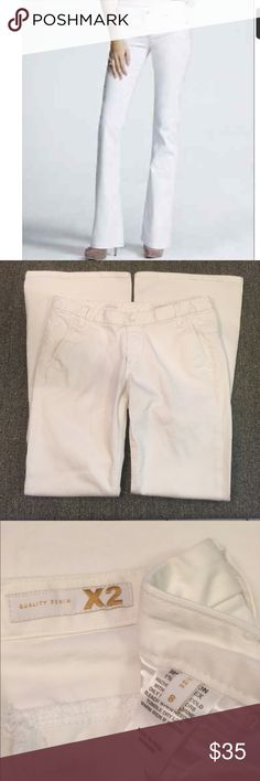 "EXPRESS X2 Fit & Flare White Jeans EUC!! The Fit & Flare style has front slash pockets and button tab back pockets. Laid flat, waist measured 15.75"", inseam is 32"".  Perfect cuffs, no wear!! Express Jeans Flare & Wide Leg"
