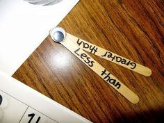 Great visual manipulative to help students understand more than and less than if they are struggling Second Grade Math, First Grade Classroom, Math Classroom, Kindergarten Math, Teaching Math, Teaching Ideas, Grade 2, Classroom Ideas, Math For Kids