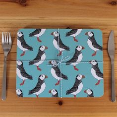 Puffin Billy Placemat Set £30 #puffin #green #placemats #homeware #madeintheuk #sea #nautical