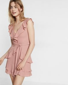 Ruffle Front Tie Waist Fit And Flare Dress
