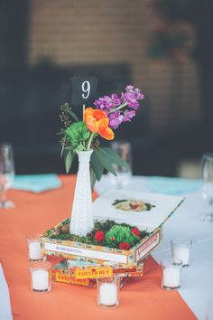 Cuban Centerpieces | Photo: Papered Heart Photography | Florals: FH Wedding & Events | #purple #orange #cigar #cuban