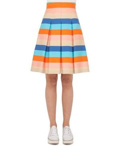 Striped Pleated A-Line Skirt, Turquoise/Marigold