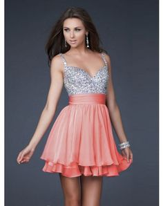 Beaded top and short pink bottom. Nice A-Line Princess V-neck Short Mini Chiffon Homecoming Dresses