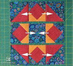 "Hidden Star Quilt Block: 6"", 9"" and 12"" finished"