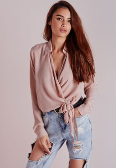 Missguided - Wrap Over Tie Side Blouse Nude