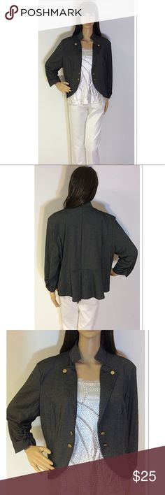 """SZ XL NEW DIRECTIONS GRAY 3/4 SLEEVE JACKET Lightweight and very soft and flexible. This gray jacket will be the perfect staple piece for spring. Gently used with an open style front, and 3/4 sleeves. Measurements lying flat Armpit to armpit 22.5"""" length 23"""". The jacket is slightly lighter than I could capture in the photos new directions Jackets & Coats Utility Jackets"""