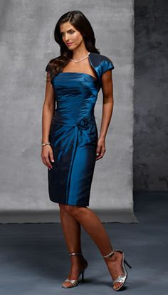 Dark Blue Classic Column Layed Tea length Mother Of Bride Dress With A Wrap