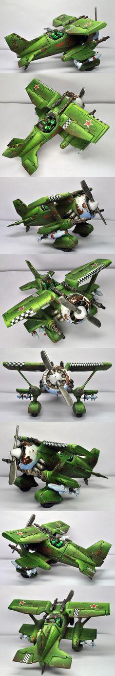 Da Green Baron, Fighta Ace of First Ragna-Ork War, Ork Dakka Jet conversion, Warhammer 40k.