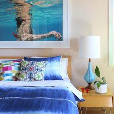 Colorfly Home Shibori inspired duvet set, 'Fletcher' in indigo with Colorfly decorative pillows. #homedecor #interiordesign