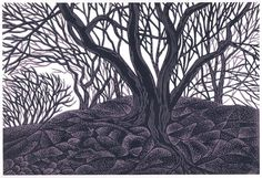 ENTWINED TREES linocut by Natalie Moroz.  two color linocut on Rising Stonehenge 120lb