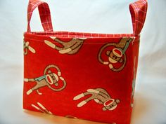 PK Fabric Basket in Tossed Socky in Red  Storage Basket by PKStuff, $14.50