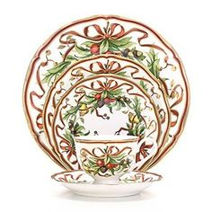 Most Elegant Christmas Dinner - set with Tiffany Holiday five piece place setting.