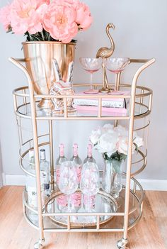 Pink and gold bar cart, flamingo, peonies, vintage mirror tray Bar Cart Styling, Bar Cart Decor, Home Decor Furniture, Home Decor Bedroom, Room Decor, Pink Bar, College House, First Apartment, Elegant Homes
