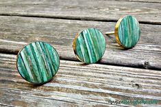 Teal Blue Shell & Gold Decorative Knobs