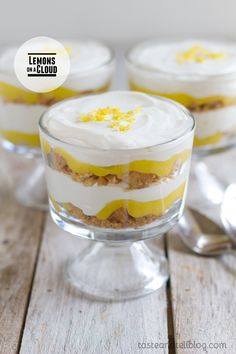lemon-puckerup-parfait - Parfaits make a really nice presentation. Puckerup with this yummy lemon dessert. Desserts In A Glass, Trifle Desserts, Lemon Desserts, Lemon Recipes, Just Desserts, Dessert Recipes, Yummy Treats, Sweet Treats, Trifle Recipe