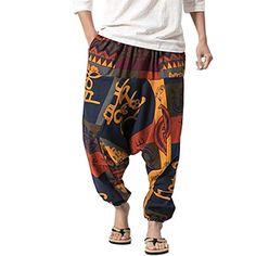 3dfa7a69897a20 besbomig Pantaloni alla Turca Harem Uomo Baggy Casual Hippy Pantaloni  Aladino Larghi a Cavallo Basso con