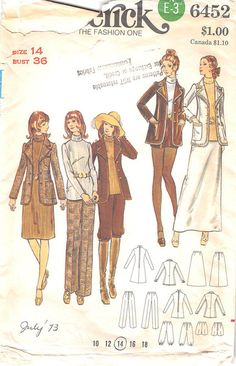BUTTERICK 6452 - FROM 1970'S - UNCUT - MISSES JACKET, DRESS, TOP SKIRT, TROUSERS, SHORTS AND KNICKERS