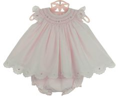 NEW Sarah Louise Pink Smocked Pinafore Style Dress with Pink and White Embroidery and Matching Diaper Cover $70.00