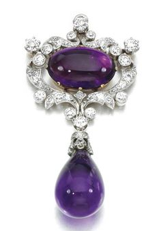 AMETHYST AND DIAMOND BROOCH - PENDANT, PAULDING FARNHAM FOR TIFFANY & CO, CIRCA 1890 - Sold at Sothebys London in December 2010 for 15,000 GBP