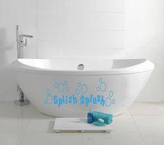 Wall Vinyl Decal Sticker Removable Room Window Bath Room Quote Splish Splash Soap Bubbles  TK286