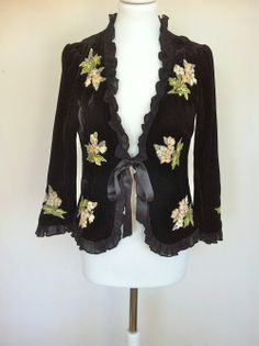 Nanette Lepore Black Velvet Embroidered Bolero Jacket via The Queen Bee. Click on the image to see more!