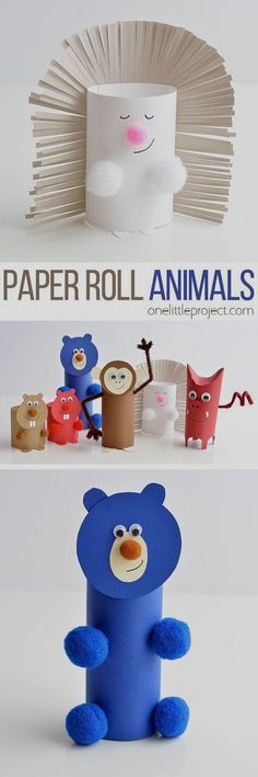 How to Make Paper Roll Animals - Upcycled Crafts Animal Crafts For Kids, Spring Crafts For Kids, Bunny Crafts, Halloween Crafts For Kids, Easy Crafts For Kids, Toddler Crafts, Projects For Kids, Crafts To Make, Art Projects