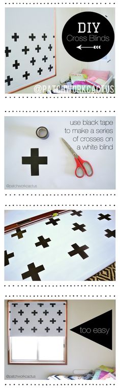 DIY Blinds tutorial by patchworkcactus - black and white crosses