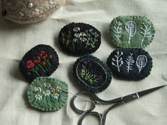in miniature    little felt pins with embroidery