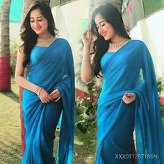 Chiffon Saree: Starting ₹421/- free COD whatsapp+919199626046 Indian Photoshoot, Saree Photoshoot, Indian Dresses, Indian Outfits, Indian Clothes, Sarees For Girls, Indische Sarees, Half Saree Designs, Blouse Designs