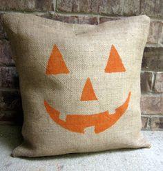Burlap pumpkin pillow