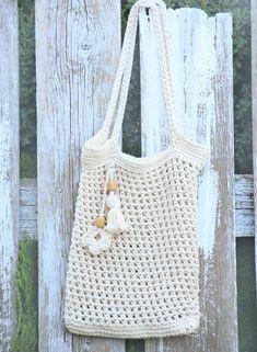 Eco friendly net bag, crochet market bag, fishnet tote bag