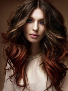 Ombre is still hot for Fall in 2012. Deep Mahogany fades seamlessly into Auburn for a warm, sultry look.